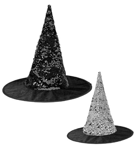 Adults Womens Reversible Sequin Witch Hat Halloween Fancy Dress Hat